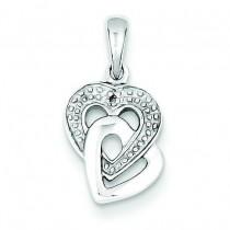Diamond Accent Heart Pendant in Sterling Silver