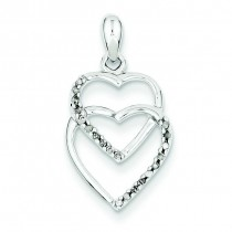 Diamond Entwining Heart Pendant in Sterling Silver