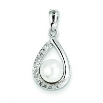 FW Cultured Pearl Diamond Teardrop Pendant in Sterling Silver