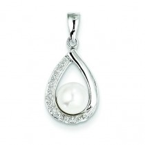FW Cultured Pearl Diamond Pendant in Sterling Silver