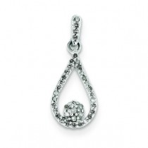 Diamond Teardrop Pendant in Sterling Silver