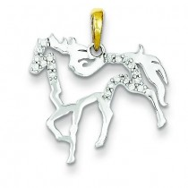 Diamond Horse Pendant in Sterling Silver