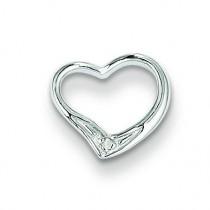 Diamond Floating Heart Pendant in Sterling Silver