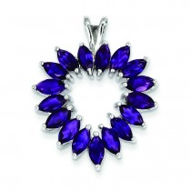 Marquise Amethyst Heart Pendant in Sterling Silver