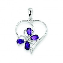 Amethyst Diamond Butterfly Heart Pendant in Sterling Silver