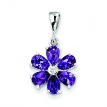 Amethyst Diamond Flower Pendant in Sterling Silver