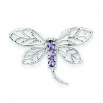 Amethyst Dragonfly Pendant in Sterling Silver