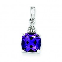 Amethyst Diamond Pendant in Sterling Silver