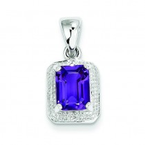 Emerald Cut Amethyst Diamond Pendant in Sterling Silver