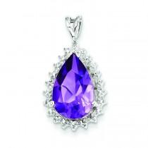 Amethyst Diamond Pear Pendant in Sterling Silver