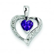 Heart Amethyst Diamond Heart Pendant in Sterling Silver