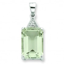 Emerald Cut Green Amethyst Diamond Pendant in Sterling Silver