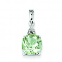 Green Amethyst Diamond Pendant in Sterling Silver