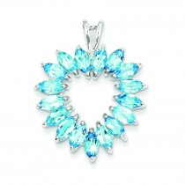 Marquise Swiss Blue Topaz Heart Pendant in Sterling Silver