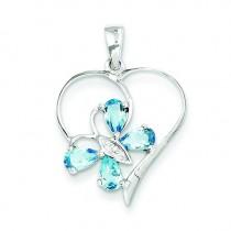 SW Blue Topaz Diamond Butterfly Heart Pendant in Sterling Silver