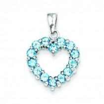 Light Swiss Blue Topaz Heart Pendant in Sterling Silver