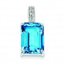 Emerald Cut Swiss Blue Topaz Diamond Pendant in Sterling Silver