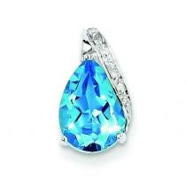 Pear Swiss Blue Topaz Pendant in Sterling Silver