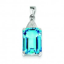 Emerald Cut Swiss Blue Topaz Diamond Pendant in Sterling Silver