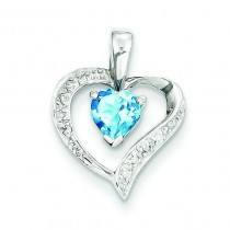 Heart Swiss Blue Topaz Diamond Heart Pendant in Sterling Silver