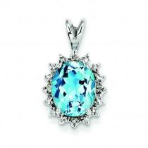 Oval Swiss Blue Topaz Diamond Pendant in Sterling Silver