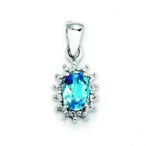 Swiss Blue Topaz Diamond Pendant in Sterling Silver