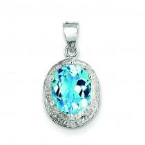 Light Swiss Blue Topaz Diamond Pendant in Sterling Silver