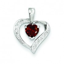 Heart Garnet Diamond Heart Pendant in Sterling Silver