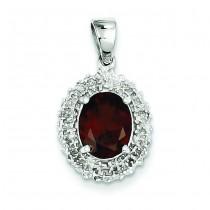 Garnet Diamond Pendant in Sterling Silver