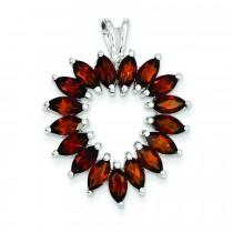 Marquise Garnet Heart Pendant in Sterling Silver