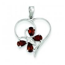 Garnet Diamond Butterfly Heart Pendant in Sterling Silver