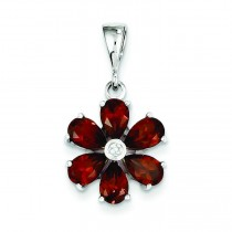Garnet Diamond Flower Pendant in Sterling Silver