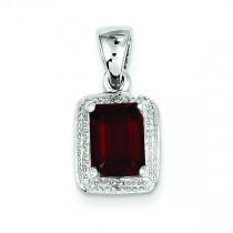 Emerald Cut Garnet Diamond Pendant in Sterling Silver