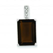 Emerald Cut Smokey Quartz Diamond Pendant in Sterling Silver