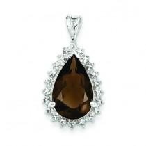 Smokey Quartz Diamond Pear Pendant in Sterling Silver