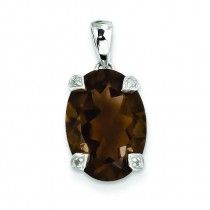 Smokey Quartz Diamond Pendant in Sterling Silver