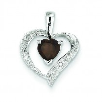 Heart Smokey Quartz Diamond Heart Pendant in Sterling Silver