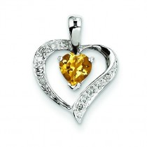 Heart Citrine Diamond Heart Pendant in Sterling Silver