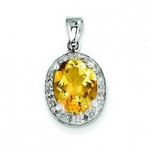 Pear Citrine Diamond Pendant in Sterling Silver