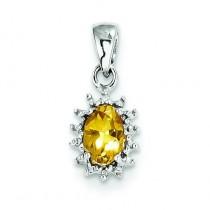 Citrine Diamond Pendant in Sterling Silver
