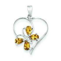 Citrine Diamond Butterfly Heart Pendant in Sterling Silver