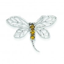 Citrine Dragonfly Pendant in Sterling Silver
