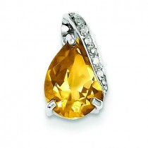 Pear Citrine Pendant in Sterling Silver