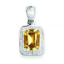 Emerald Cut Citrine Diamond Pendant in Sterling Silver