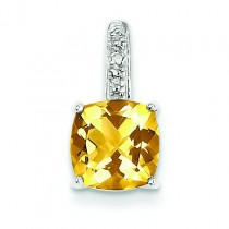 Citrine Diamond Pendant in Sterling Silver