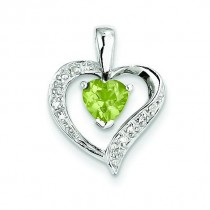 Heart Peridot Diamond Heart Pendant in Sterling Silver