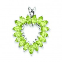 Marquise Peridot Heart Pendant in Sterling Silver
