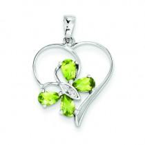 Peridot Diamond Butterfly Heart Pendant in Sterling Silver