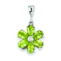 Peridot Diamond Flower Pendant in Sterling Silver