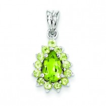 Peridot Pear Shaped Pendant in Sterling Silver